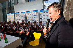 Primoz Ulaga, president of SZS during press conference of Slovenian Ski jumping and Nordic combined team before new winter season 2012/13 on November 17, 2012 in Gorenje shop, Crnuce, Ljubljana, Slovenia. (Photo By Vid Ponikvar / Sportida)