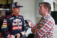 (L to R): Max Verstappen (NLD) Scuderia Toro Rosso Test Driver with his father Jos Verstappen (NLD).<br /> Japanese Grand Prix, Thursday 2nd October 2014. Suzuka, Japan.