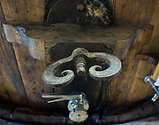 Hand-forged iron work on old casks