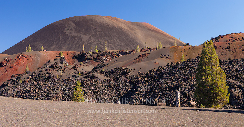 The Lassen Cinder Cone forms a large round hill when approached from the west, Mt Lassen National Park.