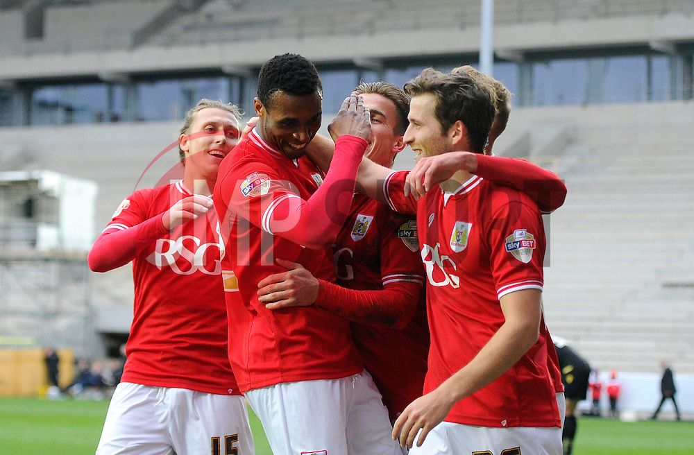 Jonathan Kodjia of Bristol City celebrates with Joe Bryan of Bristol City and Adam Matthews of Bristol City   - Mandatory byline: Joe Meredith/JMP - 19/03/2016 - FOOTBALL - Ashton Gate - Bristol, England - Bristol City v Bolton Wanderers - Sky Bet Championship