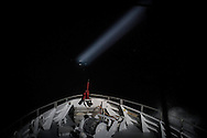"Norwegian Redningsselskapet rescue boat ""Peter Henry Von Koss"" conducts a Frontex sea patrol on the northern shores of Lesbos island on 29 February, 2016.  The boat executes it's patrol pattern during night time with help of a searchlight."