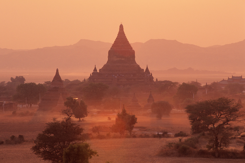 Sunset view of temples at Bagan