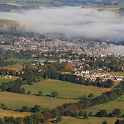 Clearing autumnal mist over the Scottish Border town of Peebles