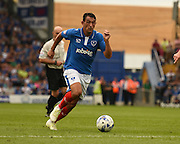 Portsmouth man of the match Gary Roberts attacking during the Sky Bet League 2 match between Portsmouth and Morecambe at Fratton Park, Portsmouth, England on 22 August 2015. Photo by David Charbit.