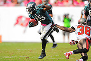 Philadelphia Eagles running back LeSean McCoy (25)  jumps to avoid Tampa Bay Buccaneers free safety Dashon Goldson (38) during the Eagles 31-20 win over the Tampa Bay Buccaneers on Oct. 13, 2013 in Tampa, Florida. <br /> <br /> &copy;2013 Scott A. Miller