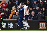 Kane Injured - Harry Kane (10) of Tottenham Hotspur walks back to the dressing room after picking up an injury during the Premier League match between Bournemouth and Tottenham Hotspur at the Vitality Stadium, Bournemouth, England on 11 March 2018. Picture by Graham Hunt.