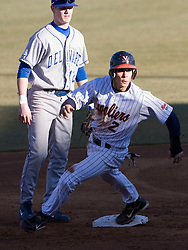 Virginia Cavaliers infielder Greg Miclat (2) advances to second base on a passed ball in action against Delaware.  The Virginia Cavaliers Baseball Team defeated the Delaware Blue Hens 11-2 in the first of a three game series at Davenport Field in Charlottesville, VA on March 2, 2007.