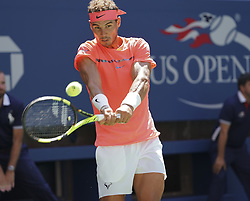 September 4, 2017 - New York, New York, United States - Rafael Nadal of Spain returns ball during match against Alexandr Dolgopolov of Ukraine at US Open Championships at Billie Jean King National Tennis Center  (Credit Image: © Lev Radin/Pacific Press via ZUMA Wire)