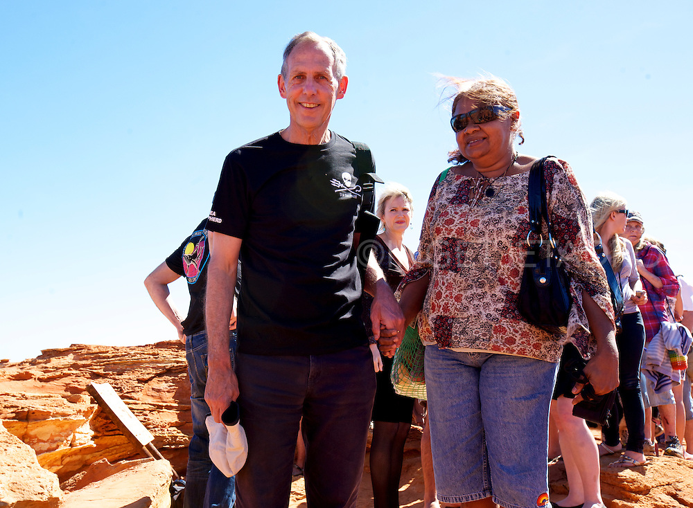 Bob Brown, ex Green's leader is welcomed to country by Lorna Cox