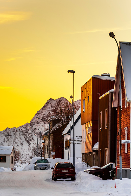 Predawn street scene in Svolvaer, on Austvagoya Island, Lofoten Islands, Arctic, Northern Norway.