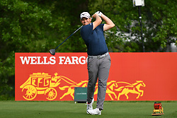 May 2, 2019 - Charlotte, NC, U.S. - CHARLOTTE, NC - MAY 02: Adam Schenk plays his shot from the 16th tee in round one of the Wells Fargo Championship on March 02, 2019 at Quail Hollow Club in Charlotte,NC. (Photo by Dannie Walls/Icon Sportswire) (Credit Image: © Dannie Walls/Icon SMI via ZUMA Press)