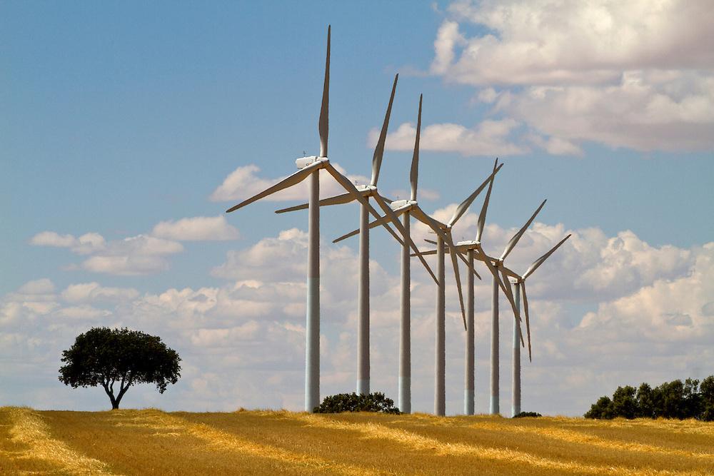 Windmills in an wind energy park in Spain.