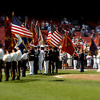 21 July 2007:  Veterans of past wars present the colors prior to the game against the Washington Nationals.  The Nationals defeated the Rockies 3-0 at RFK Stadium in Washington, D.C.  ****For Editorial Use Only****