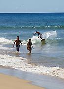 Maui, Surfers at Ka'anapali Beach.