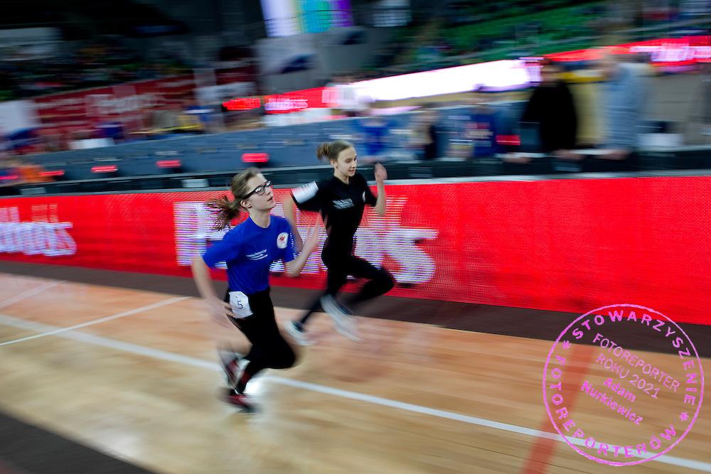 Children compete during athletics meeting Youth Pedro's Cup 2014 2014 at Luczniczka Hall in Bydgoszcz, Poland.<br /> <br /> Poland, Bydgoszcz, January 31, 2014.<br /> <br /> Picture also available in RAW (NEF) or TIFF format on special request.<br /> <br /> For editorial use only. Any commercial or promotional use requires permission.<br /> <br /> Mandatory credit:<br /> Photo by &copy; Adam Nurkiewicz / Mediasport