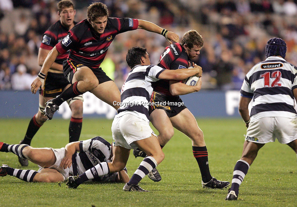 Canterbury's Jamie Nutbrown in action supported by Richie McCaw during the Auckland v Canterbury NPC match at Eden Park, Saturday 2 October 2004 Canterbury defeaqted Auckland 28-20<br />