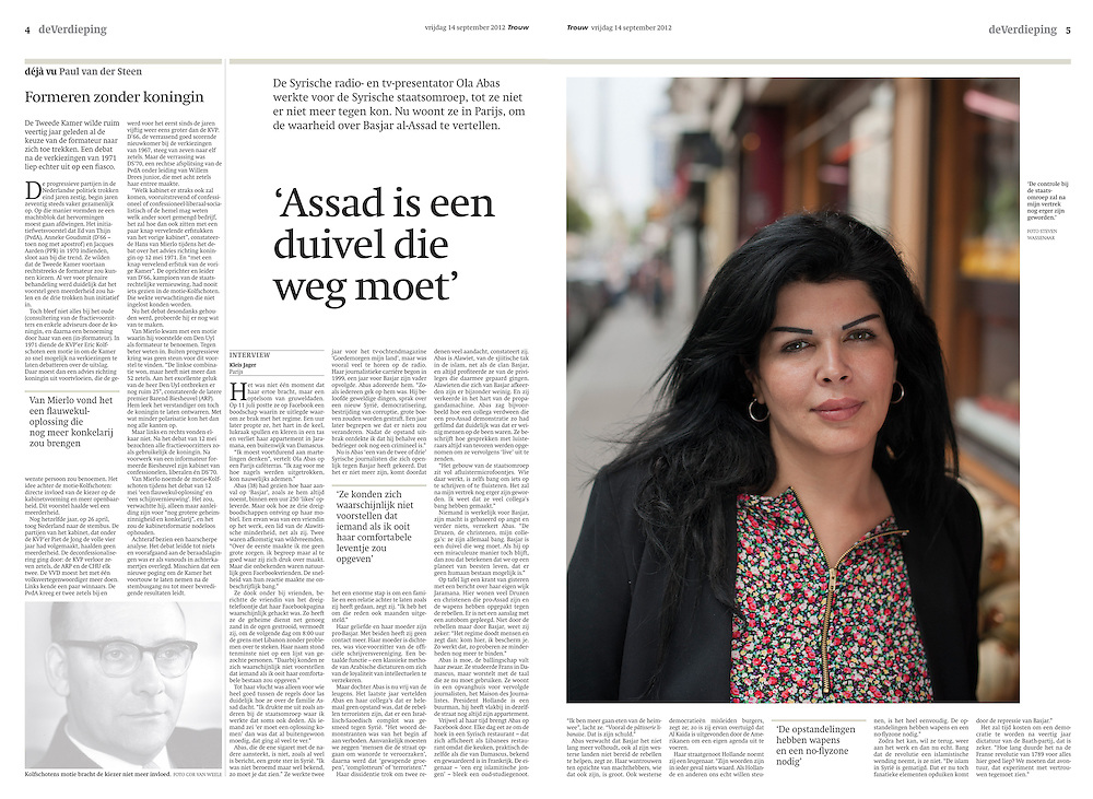 Portrait of Ola Abbas, a journalist who fled Syria, despite being member of the Alawites minority. (France)