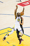 Golden State Warriors forward Kevin Durant (35) is fouled by the Cleveland Cavaliers during Game 1 of the NBA Finals at Oracle Arena in Oakland, Calif., on May 31, 2018. (Stan Olszewski/Special to S.F. Examiner)