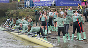 Greater London. United Kingdom, Cambridge Women's Squad celebrate as they have a clean sweep of both races'. University Boat Races , Cambridge University vs Oxford University. Putney to Mortlake,  Championship Course, River Thames, London. <br /> <br /> Saturday  24.03.18<br /> <br /> [Mandatory Credit  Intersport Images]