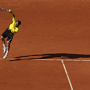 Fernando Gonzalez, Chile on his way to victory over Andy Murray, Great Britain in the Men's Quarter Final match at the French Open Tennis Tournament at Roland Garros, Paris, France on Tuesday, June 2, 2009. Photo Tim Clayton.