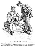 """The """"Liberty"""" of Labour. Miners' Leader. """"So you've given your free and unfettered judgement on the governments proposals."""" Miner. """"You can call it that if it suits you. But if you really want to know what I really think, let me get at that box you're sitting on."""""""