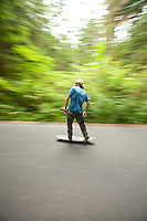 Skate boarding in Ecola State Park. Cannon Beach, OR.