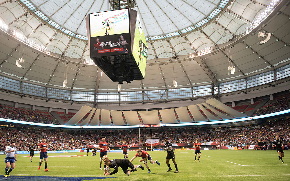 Scott Curry scores for New Zealand against Scotland during the pool stages of the Canada Sevens,  Round Six of the World Rugby HSBC Sevens Series in Vancouver, British Columbia, Saturday March 11, 2017. <br /> <br /> Jack Megaw.<br /> <br /> www.jackmegaw.com<br /> <br /> jack@jackmegaw.com<br /> @jackmegawphoto<br /> [US] +1 610.764.3094<br /> [UK] +44 07481 764811