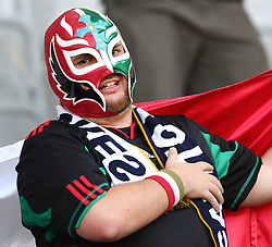 08.07.2011, Tivoli Stadion, Innsbruck, AUT, American Football WM 2011, Group A, Germany (GER) vs Mexico (MEX), im Bild Fan from Team Mexico during the national anthem // during the American Football World Championship 2011 Group A game, Germany vs Mexico, at Tivoli Stadion, Innsbruck, 2011-07-08, EXPA Pictures © 2011, PhotoCredit: EXPA/ T. Haumer