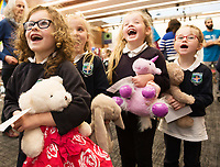 18/01/2018 Abbie D'Arcy, Grace McClean Holly Flanagan and Roisin Davey from Uachtar Ard with teddies,  at the Teddy Bear Hospital at NUI Galway.Students get used to dealing with Kids and Kids get a Hospital experience with a difference. Photo:Andrew Downes, XPOSURE