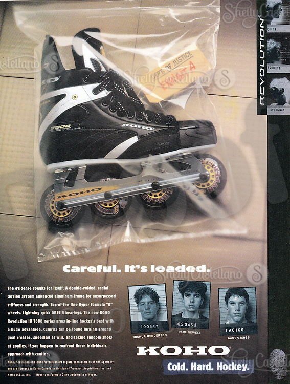 1997:  KOHO Karhu inline roller hockey advertisement.
