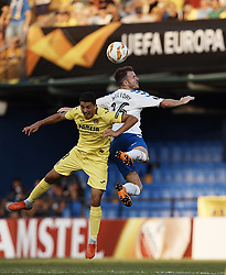 September 20, 2018 - Vila-Real, Castellon, Spain - Andrew Halliday (R) of Rangers heads the ball next to Pablo Fornals of Villarreal CF during the UEFA Europa League group G match between Villarreal CF and Rangers at Estadio de la Ceramica on September 20, 2018 in Vila-real, Spain  (Credit Image: © David Aliaga/NurPhoto/ZUMA Press)
