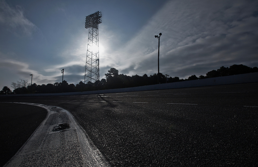 low angle view with dramatic lighting of a speedway race track