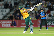 Jake Ball of Nottinghamshire Nottinghamshire Outlaws hits out during the Vitality T20 Blast North Group match between Nottinghamshire County Cricket Club and Worcestershire County Cricket Club at Trent Bridge, West Bridgford, United Kingdon on 18 July 2019.