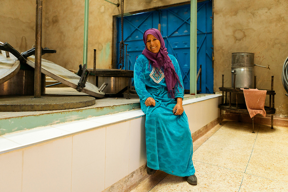 KELAAT M'GOUNA, MOROCCO - 14TH MAY 2016 - Portrait of a member of Association Feminine du Dades cooperative which produces and sells distilled rose water.