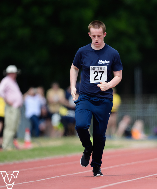 Metro Blind Sport's 2017 Athletics Open held at Mile End Stadium.  100m.  Harrison Lovett<br /> <br /> Picture: Chris Vaughan Photography for Metro Blind Sport<br /> Date: June 17, 2017