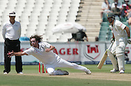 Ryan Sidebottom fields from his own bowling off Jean Paul (JP) Duminy  during day 3 of the 4th Castle Test between South Africa and England held at The Bidvest Wanderers Stadium in Johannesburg, South Africa on the 16 January 2010.Photo by:  Ron Gaunt/SPORTZPICS
