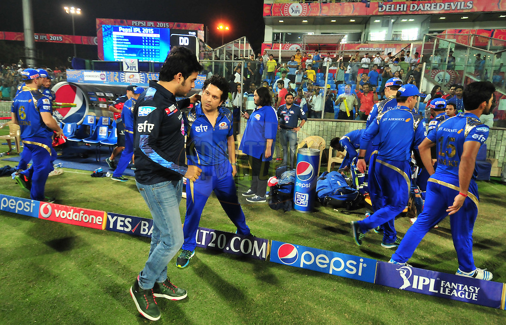 MI mentor Sachin Tendulkar and Akash Ambani after match 21 of the Pepsi IPL 2015 (Indian Premier League) between The Delhi Daredevils and The Mumbai Indians held at the Ferozeshah Kotla stadium in Delhi, India on the 23rd April 2015.<br /> <br /> Photo by:  Arjun Panwar / SPORTZPICS / IPL