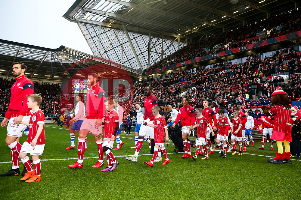 The teams come out of the tunnel for the start of the match - Rogan/JMP - 27/01/2018 - Ashton Gate Stadium - Bristol, England - Bristol City v Queens Park Rangers - Sky Bet Championship.