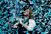 Stefanos Tsitsipas of Greece with his winners trophy during the Nitto ATP finals at the O2 Arena, London, United Kingdom on 17 November 2019.