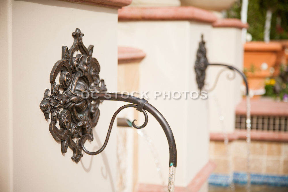 Outdoor Water Fountain with a Copper Spout