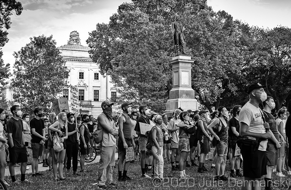 Protesters in Lafayette Square  on june 27, 2020 during a protest held by Take 'Em Down NOLA  in New Orleans.