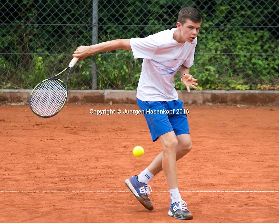 Tennis Europe-Bavarian Junior Open, Leon Formella  (GER)  BS14<br /> <br /> Tennis - Bavarian Junior Open 2016 - Tennis Europe Junior Tour -  SC Eching - Eching - Bayern - Germany  - 9 August 2016. <br /> &copy; Juergen Hasenkopf