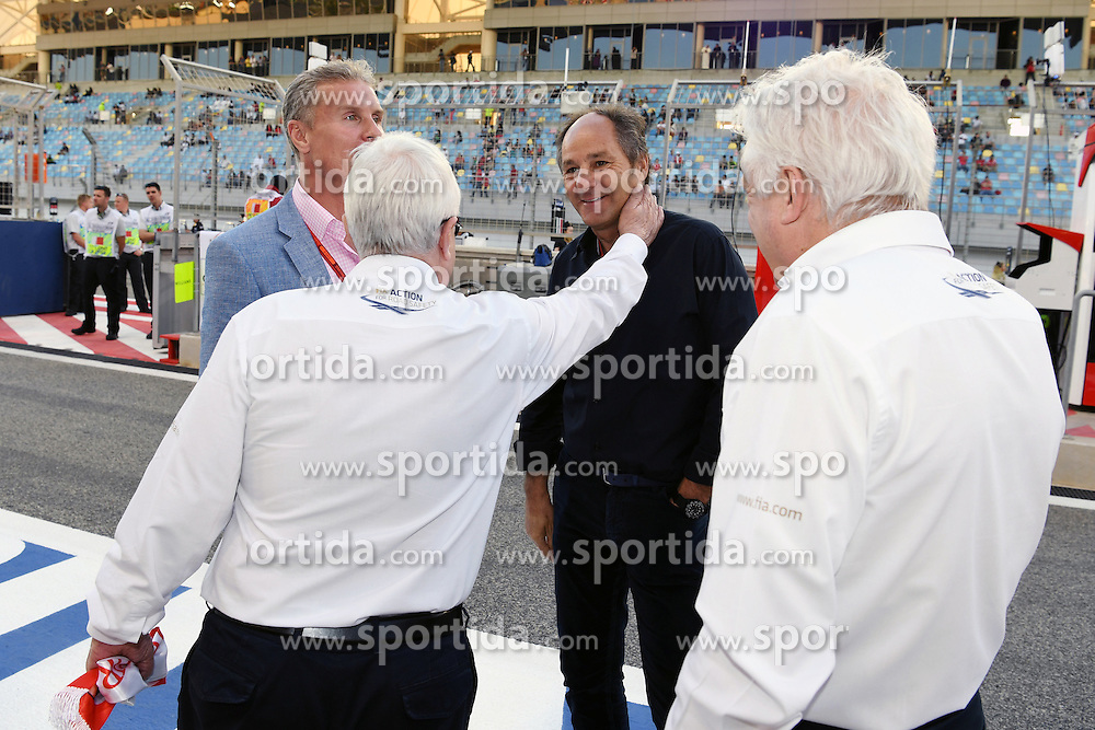 03.04.2016, International Circuit, Sakhir, BHR, FIA, Formel 1, Grand Prix von Bahrain, Rennen, im Bild Herbie Blash (GBR) FIA Delegate, David Coulthard (GBR) Channel Four TV Commentator, Gerhard Berger (AUT) and Charlie Whiting (GBR) FIA Delegate on the grid // during Race for the FIA Formula One Grand Prix of Bahrain at the International Circuit in Sakhir, Bahrain on 2016/04/03. EXPA Pictures &copy; 2016, PhotoCredit: EXPA/ Sutton Images<br /> <br /> *****ATTENTION - for AUT, SLO, CRO, SRB, BIH, MAZ only*****