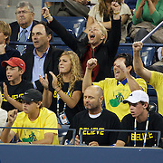 Melanie Oudin supporters and family watching Melanie Oudin, USA, in action against Caroline Wozniacki, Denmark, during the US Open Tennis Tournament at Flushing Meadows, New York, USA, on Wednesday, September 9, 2009. Photo Tim Clayton.