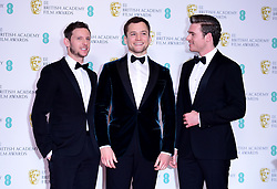 Jamie Bell, Taron Egerton and Richard Madden (left-right) in the press room at the 72nd British Academy Film Awards held at the Royal Albert Hall, Kensington Gore, Kensington, London.