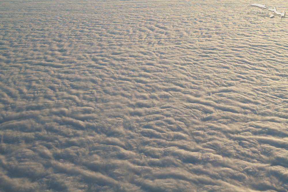 Aerial view of clouds near the Yucatan Peninsula, Mexico