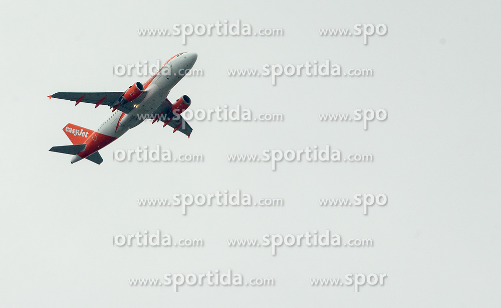 EasyJet airplane during Football match between NK Triglav and NK Maribor in 25th Round of Prva liga Telekom Slovenije 2018/19, on April 6, 2019, in Sports centre Kranj, Slovenia. Photo by Vid Ponikvar / Sportida