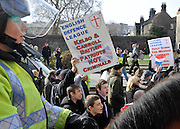 Pictures by Mark Larner. Pictures show protesters from the right wing English Defence League and BNP taunting anti-fascist activists near Westminster. 5th March 2010.