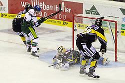 03.10.2014, K&ouml;nig Palast, Krefeld, GER, DEL, Krefeld Pinguine vs Augsburger Panther, 7. Runde, im Bild T.J. Trevelyan #24 (Augsburger Panther) schiesst das Tor zum 0:1. Gestik, Spass, Freude, Jubel, Gut gelaunt, Begeistert, Aktion, Action, Querformat // during germans DEL Icehockey League 7th round match between Krefeld Pinguine and Augsburger Panther at the K&ouml;nig Palast in Krefeld, Germany on 2014/10/03. EXPA Pictures &copy; 2014, PhotoCredit: EXPA/ Eibner-Pressefoto/ Grimme<br /> <br /> *****ATTENTION - OUT of GER*****